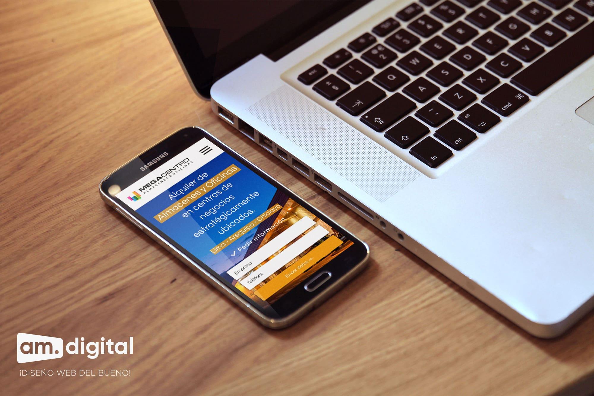 Diseño de página web adaptable compatible con smartphones para Megacento en Arequipa